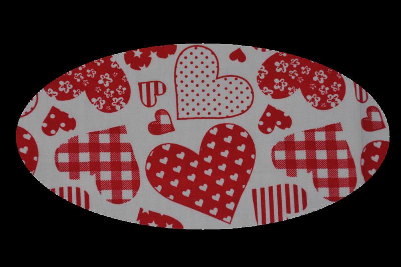 Rød med hjerter (madras til kurv)