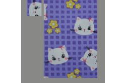 Lilla med katte (sengesæt op til 70 cm.)