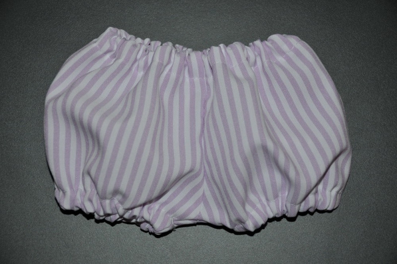 Hvide pludder bukser med lys lilla striber