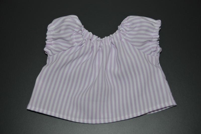 Hvid bluse med lys lilla striber