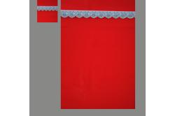 Rød med lyseblå blonde (sengesæt op til 70 cm.)