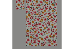 Beige sengesæt med røde og gule blomster
