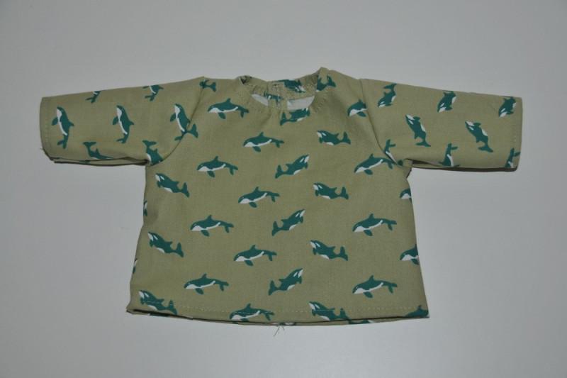 Lysegrøn bluse med delfiner