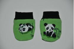 Grønne vanter med pandabjørne