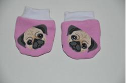 Rosa farvet vanter med hunde