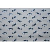 Grå dukkebluse med delfiner