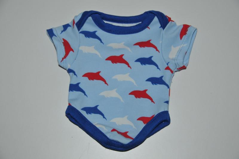 Lyseblå dukke bodystocking med delfiner