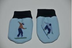 Blå dukkevanter med  snowboard løber