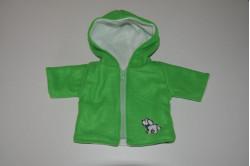 Grøn jakke med hundehvalp