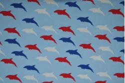 Lyseblå dukkenatdragt med delfiner